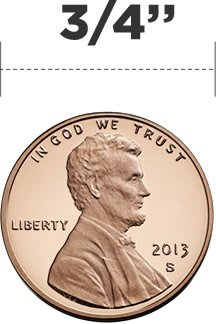 "3/4"" - incision size - same size as a penny"